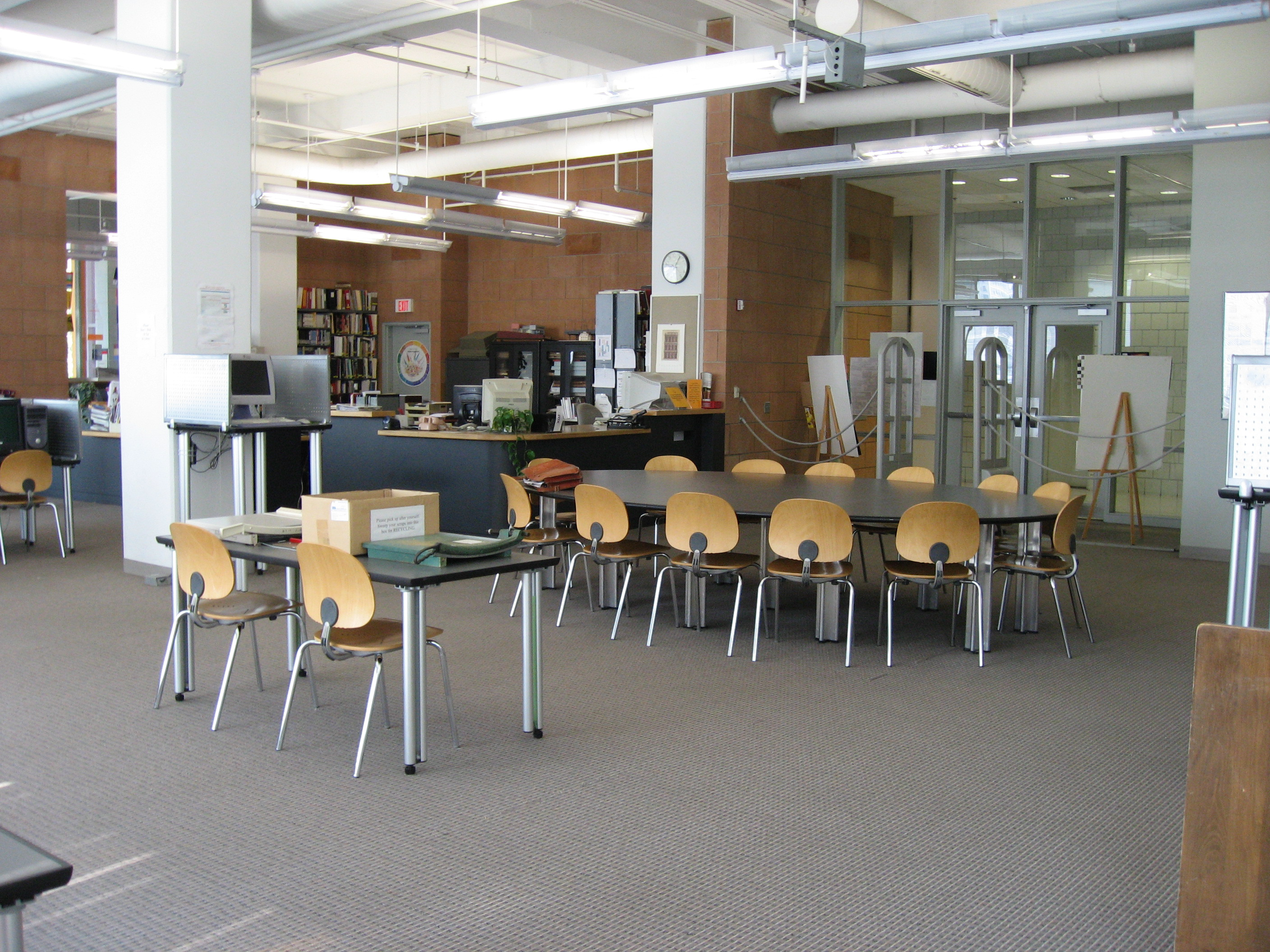 circulation desk and seating area